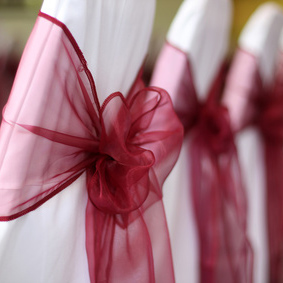 Chair cover hire with organza sashes