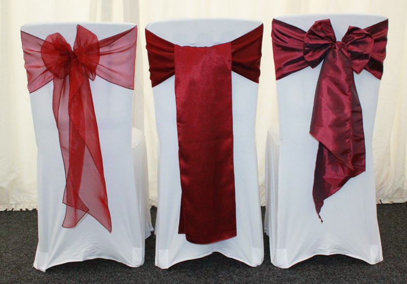 Wedding chair cover sashes for hire Choice of chair cover sashes available