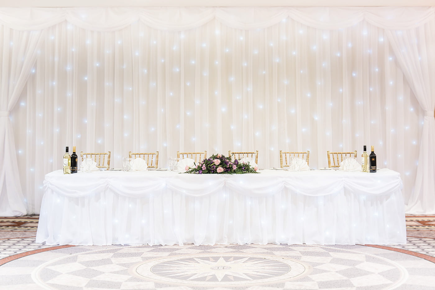 Hire wedding venue starlight backdrops