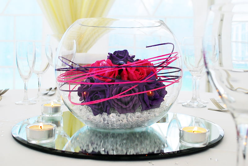 10 inch fish bowl Rosy Posy