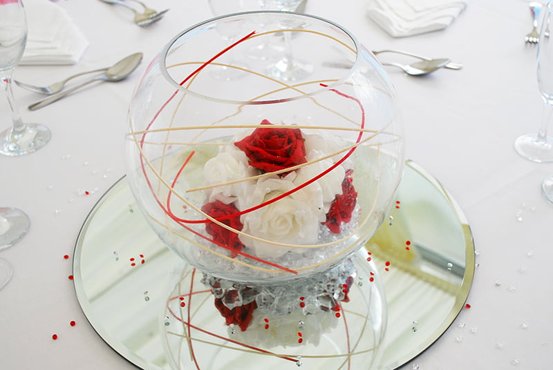10 inch fishbowl Rosy Posy