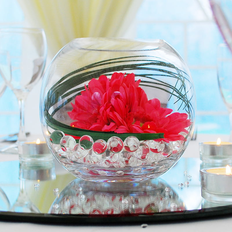 Hire Table Centrepieces - 6 inch fish bowl gerbera bear grass