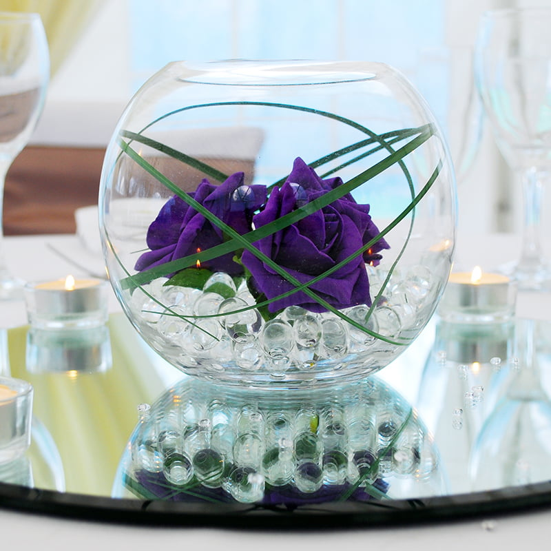 Hire Table Centrepieces - 6 inch fish bowl with roses