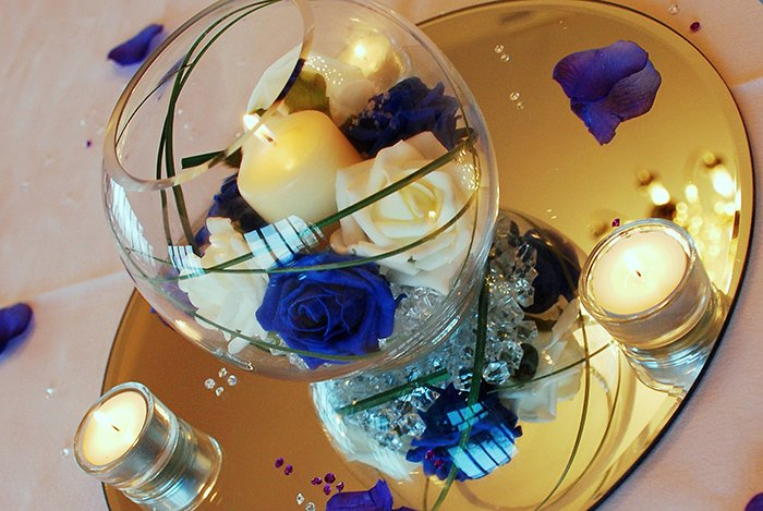 Hire Table Centrepieces - 6 inch fishbowl with candle