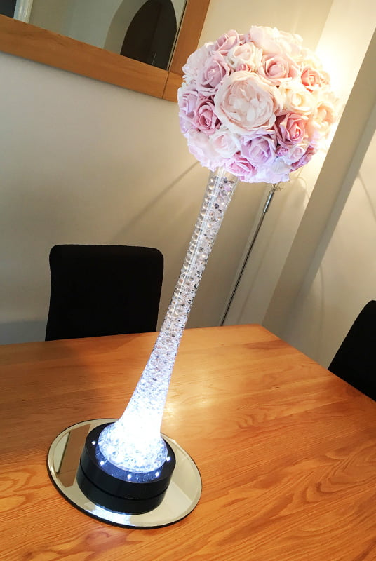Hire Table Centrepieces - 60cm tall lily vase with artificial flower ball
