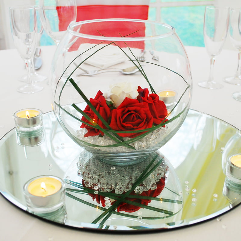 Hire Table Centrepieces - 8 inch fish bowl centrepiece