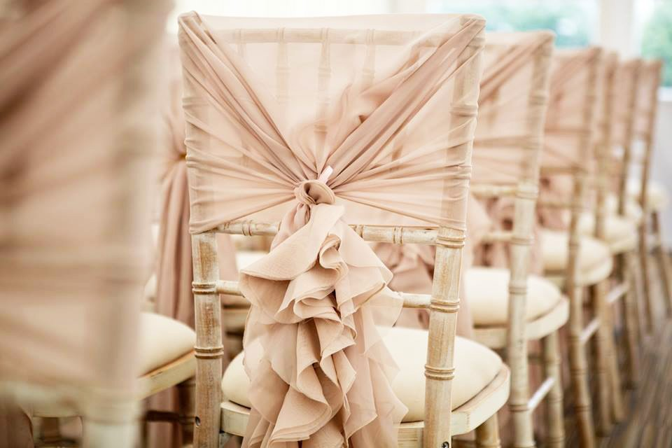 Ruffle Hoods chair cover hire