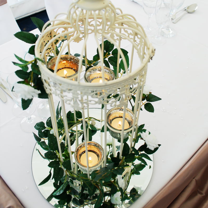 Hire Table Centrepieces - Bird cage rose garland centrepiece