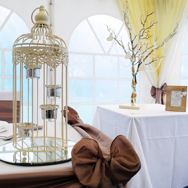 Hire Table Centrepieces - Bird cage wedding table centrepiece