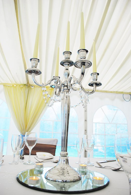 Candelabra wedding table centrepiece