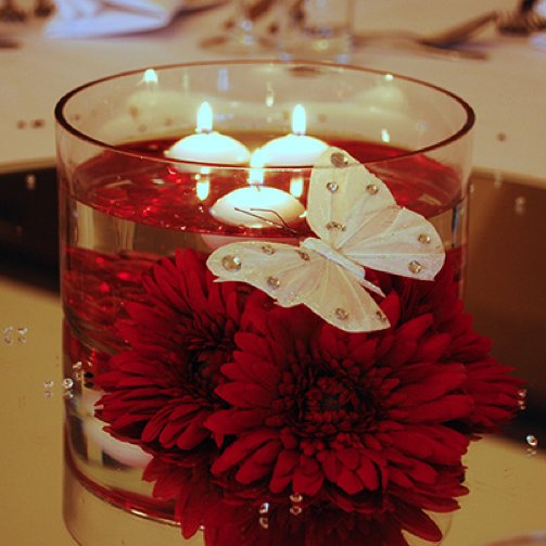 Wedding Table Centre - Floating candle table centre
