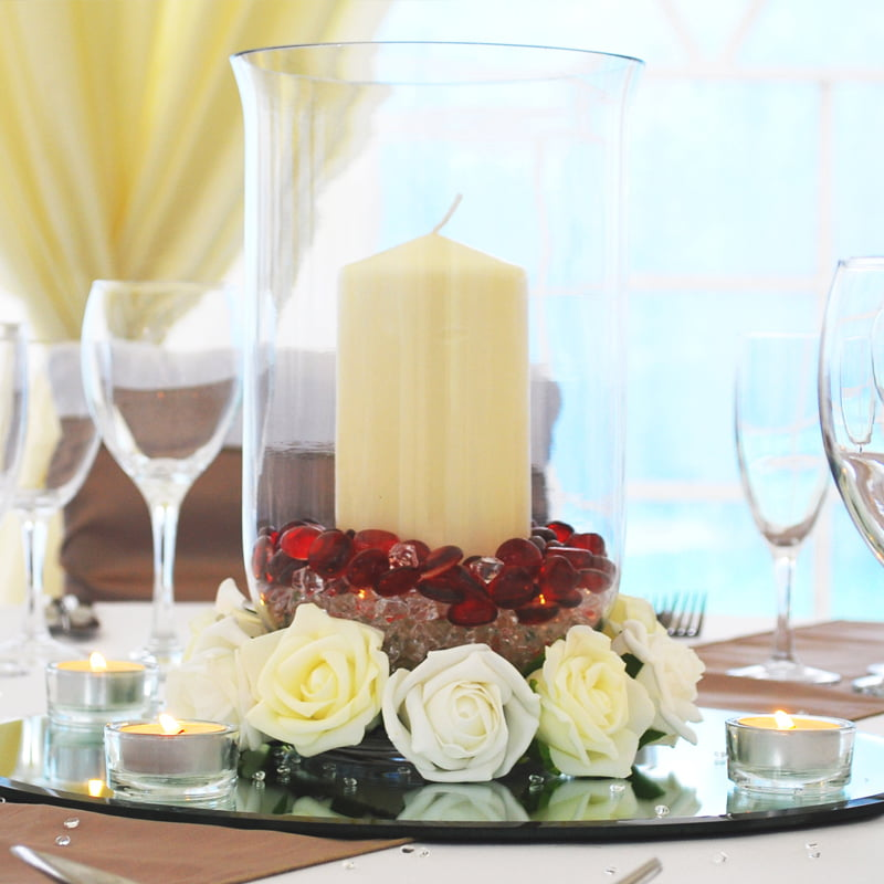 Hire Table Centrepieces - Hurricane vase wedding table centre
