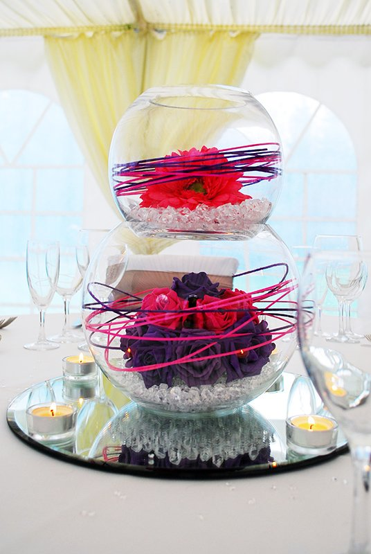 Large double bubble fish bowl display