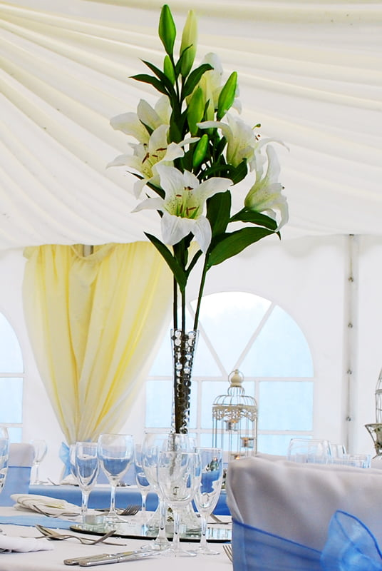 Hire Table Centrepieces - Lily vase lily stems centrepiece