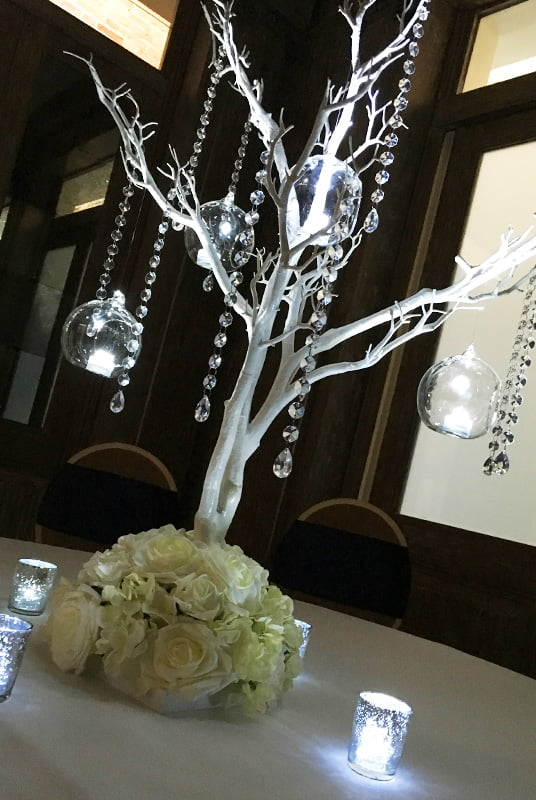 Hire Table Centrepieces - manzanita trees with diamanté droplets