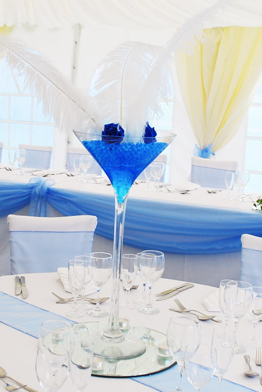 Hire Table Centrepieces - Martini vase feathers centrepiece