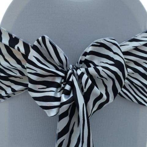 Zebra print chair cover sashes