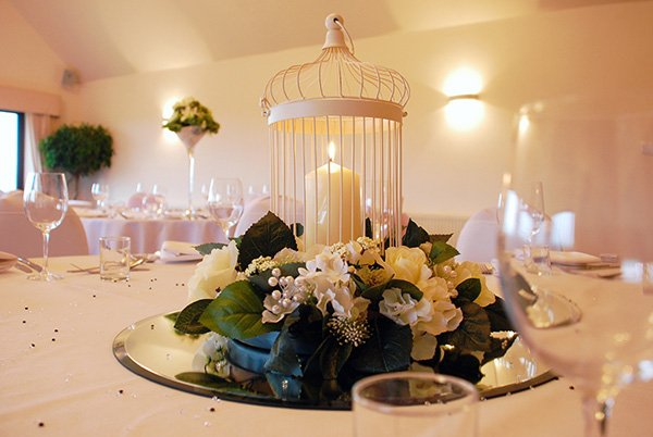 Wedding Table Centre - Diamond birdcage