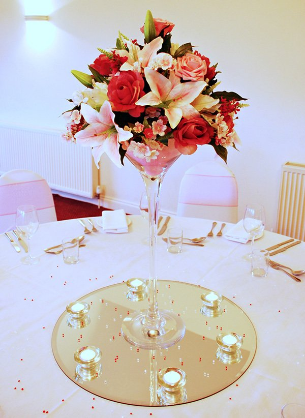 Wedding Table Centre - Diamond martini vase
