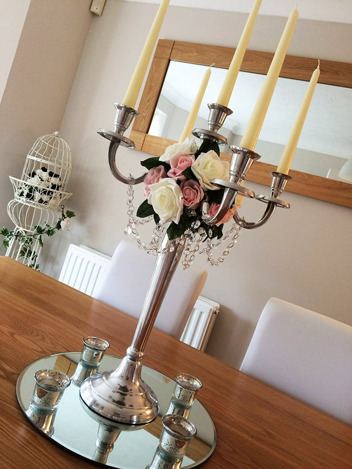 60cm 5 arm candelabra with roses