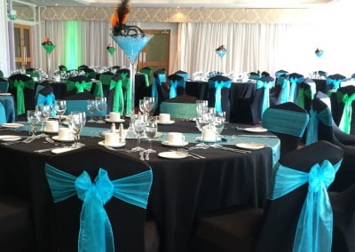 Black corporate chair cover hire