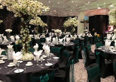 Black formal chair cover hire
